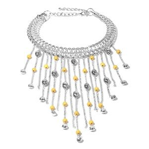 Yellow Howlite Beads Fringe Choker Necklace 18 in